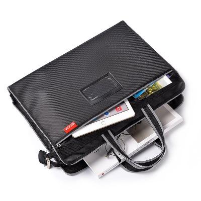 A4多功能手提资料文件袋帆布袋拉链防水加厚多层收纳袋公文电脑包