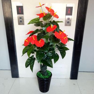 假花树红掌招财花树仿真植物落地套装大型客厅盆景塑料花装饰盆栽