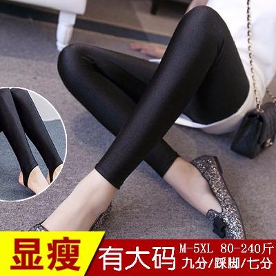 新款秋冬季光泽裤加绒加厚高腰大码外穿女踩脚九分弹力保暖打底裤