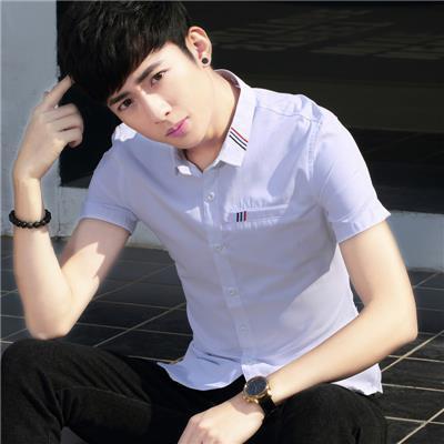 夏季衬衫男短袖韩版修身潮流帅气青少年学生休闲薄款个性休闲衬衣
