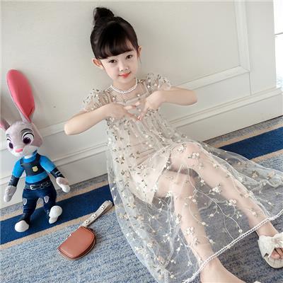 女童裙子201新款夏装儿童连衣裙夏季短袖洋气刺绣蕾丝网纱公主裙
