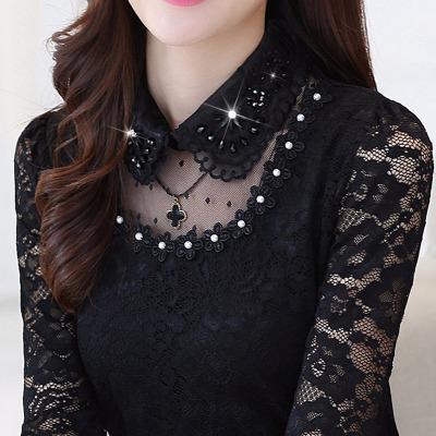 M-5XL 气质蕾丝上衣韩版大码女装蕾丝衫长袖修身加绒保暖打底衫女