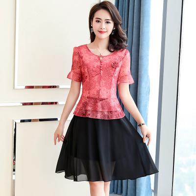 连衣裙夏短袖大码雪纺中长款韩版显瘦修身假两件遮肚裙子夏女