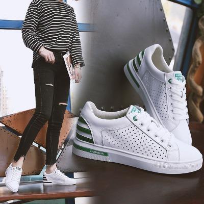 真皮女鞋2018夏季新款镂空小白鞋女韩版平底透气板鞋学生休闲百搭