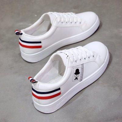 运动鞋春季皮面布鞋白鞋女韩版镂空学生球鞋女鞋新款平底中学生单
