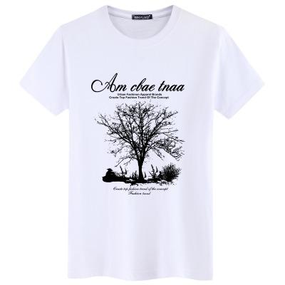 纯棉新款男士短袖T恤男装夏季半袖大码白色T恤中学生衣服半截袖潮