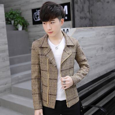 秋冬季时尚短款夹克男青少年学生韩版帅气毛呢外套男修身呢子夹克