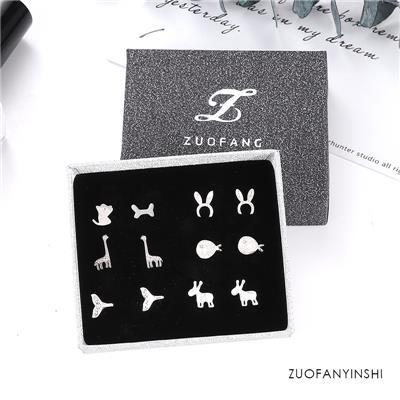 韩国925纯银防过敏四叶草耳钉简约个性气质创意耳环女耳饰品套装2
