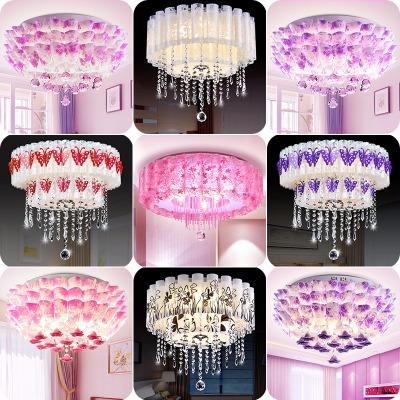 卧室灯温馨浪漫LED吸顶灯现代简约圆形客厅书房餐厅灯水晶婚房灯