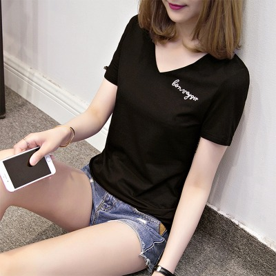 张柯维纯棉V领黑色t恤女短袖2020新款韩版修身显瘦女装刺绣上衣服