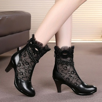 2020新款女鞋单鞋靴子女春秋短靴网靴真皮镂空靴高跟凉靴单靴蕾丝