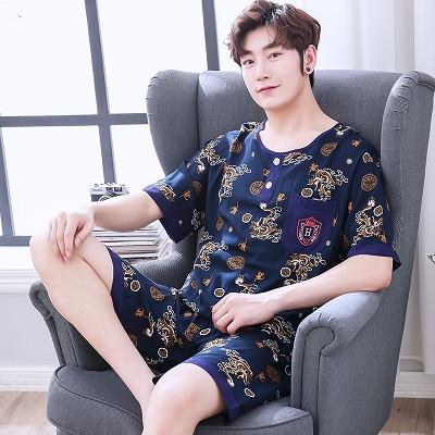 32768/中年男士棉绸睡衣夏季薄款短袖短裤休闲宽松家居服绵绸两件套大码