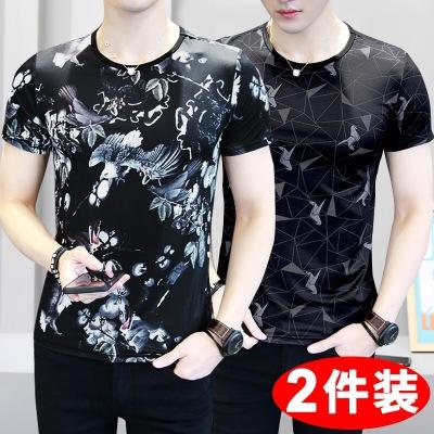 【2件装】夏季新款男士短袖t恤冰爽冰丝圆领印花薄款休闲T体恤潮